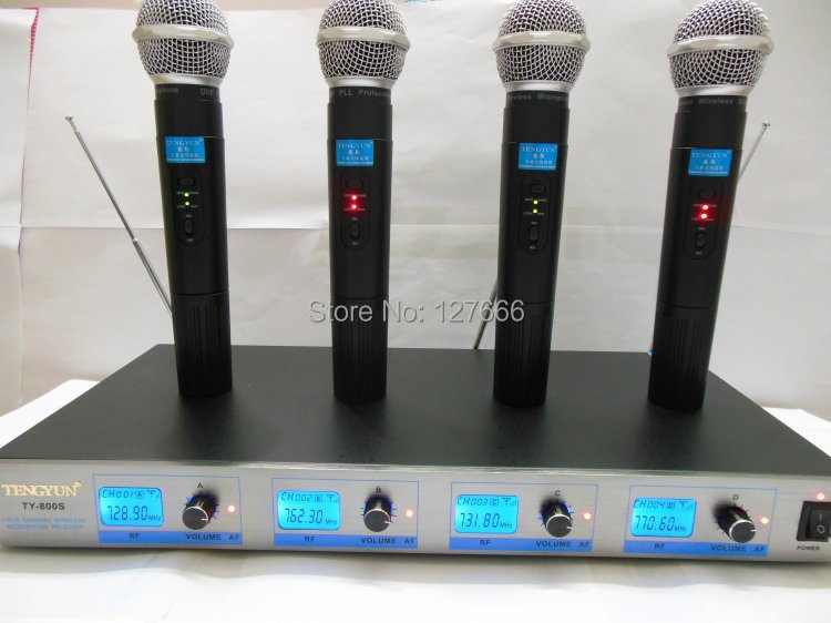 Handheld 4 Channels Wireless Microphone System TY-800S- 4 handheld professional mics for church, singing, speech