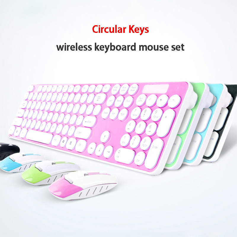 Fashion Color 2.4G 104 keys USB Wireless Circular Key Keyboard Mouse Set Combos For Desktop PC Laptop Home office free shipping