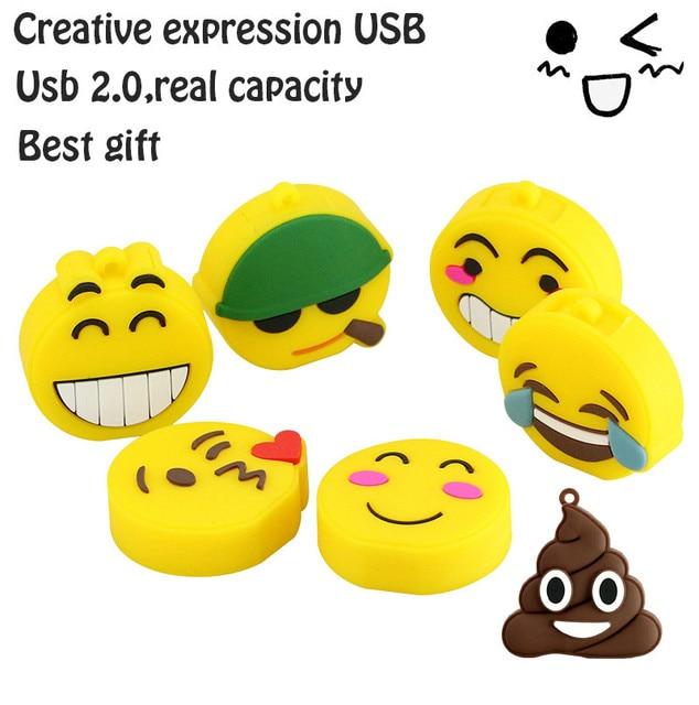 USB stick usb 2.0 real capacity Emoji emotion expression USB flash drive pen drive 1gb-64gb memory Stick Pendrive U Disk