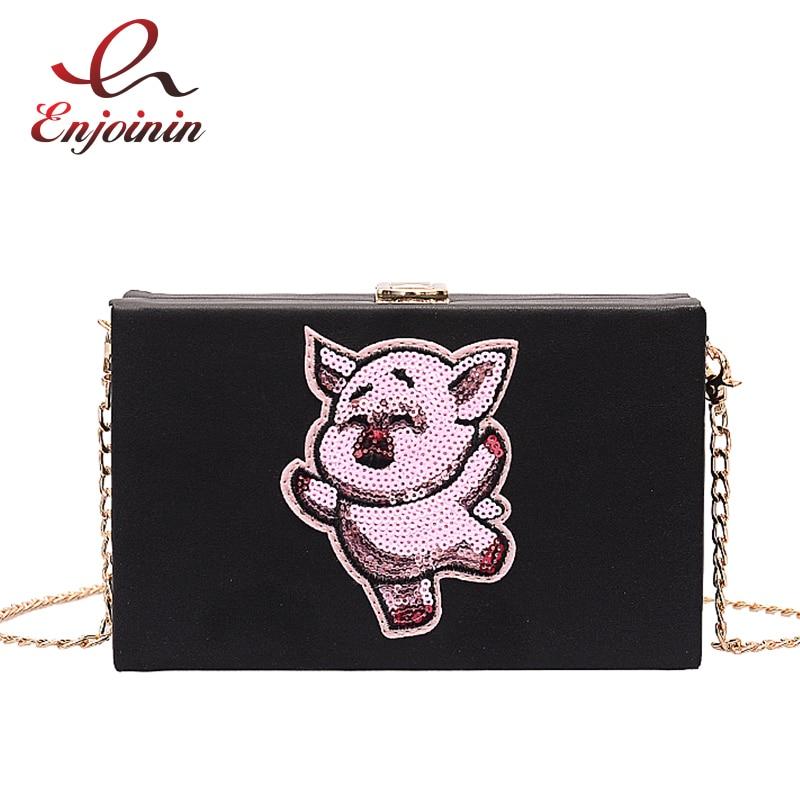 Cute Sequin Cartoon Pig Box Style Women Pu Shoulder Bag Tote Crossbody Mini Messenger Bag Casual Clutch Bag Handbag Chain Purse