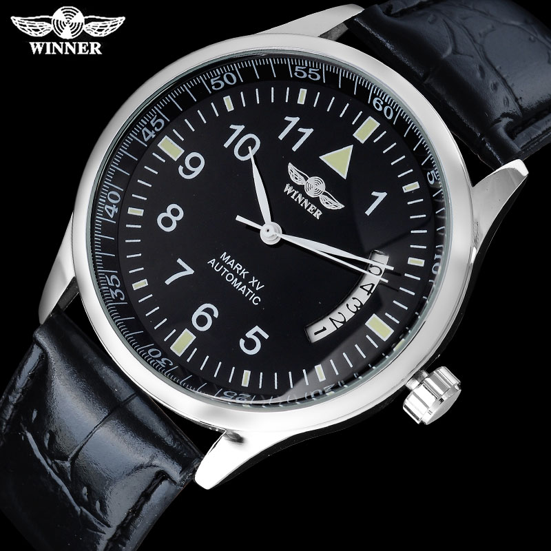 2016 WINNER popular brand men luxury automatic self wind watches big number black dial transparent glass auto date  leather band 2017 winner famous brand men fashion automatic self wind watches white dial transparent glass silver case stainless steel band