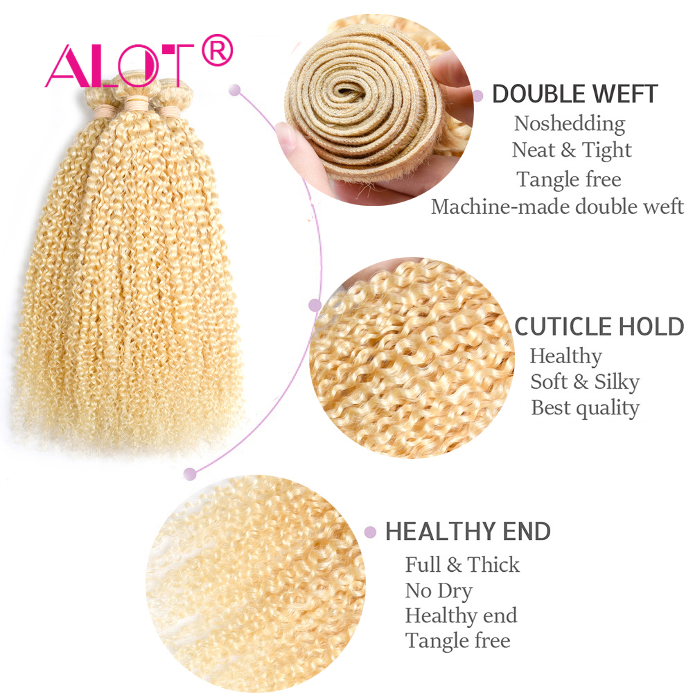 Alot  613 Kinky Curly  3/4 Bundles Blonde Hair  12 To 24 Inch Double Weft Non  Hair s 6