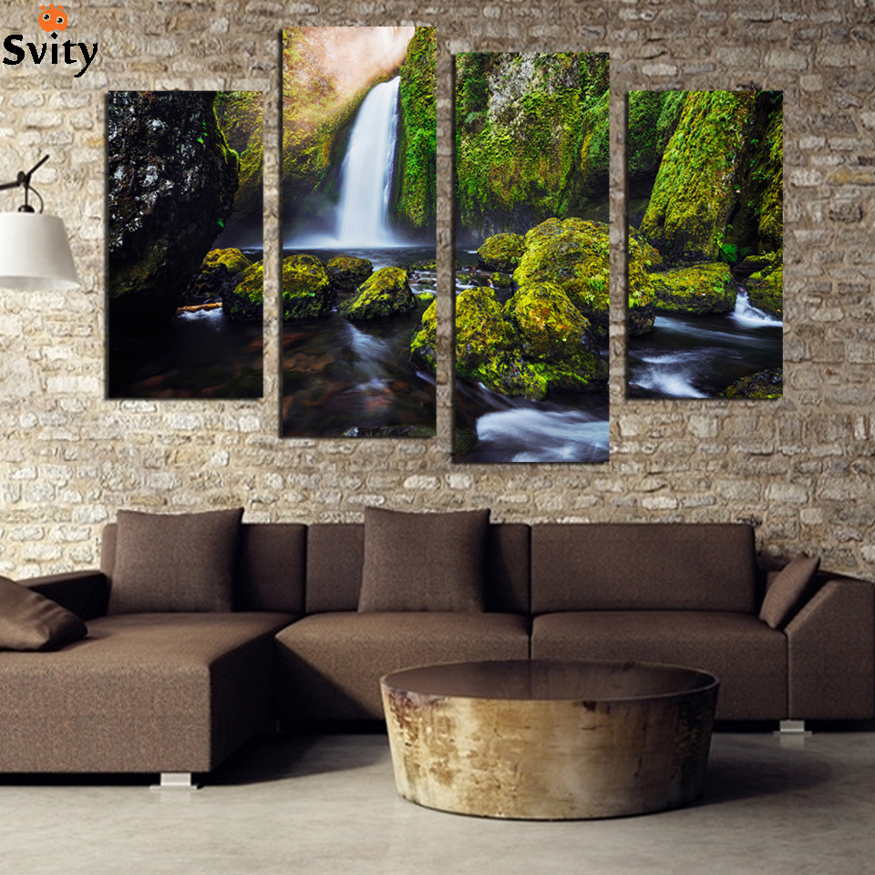 4 Panel Waterfall Painting Canvas Wall Art Picture Home Decoration For Living  Room Canvas Print Painting Unframed F1799