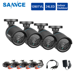 SANNCE AHD 720P 4PCS 1200TVL Bullet CCTV Camera Suite 1.0MP Waterproof IR-Cut Night Vision Camera For Surveillance System Kit BD