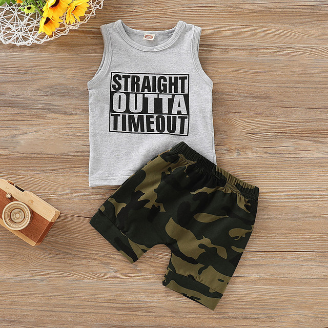 2Pcs Toddler Summer 2019 Kid Boys Clothes Letter Printed Vest Top+Camouflage Shorts Boys Outfits Kids Clothing For Boys Sets