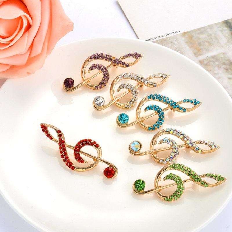 MZC Cute Rainbow Note Muzik Broach Perempuan Colorful berlian buatan Kerongsang Strass Bengkak Lapel Pin Hadiah Femme Aksesori