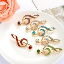 MZC Cute Rainbow Note Music Broach Female Colorful Rhinestone Brooch Strass Broches Lapel Pin Gift Femme Accessories