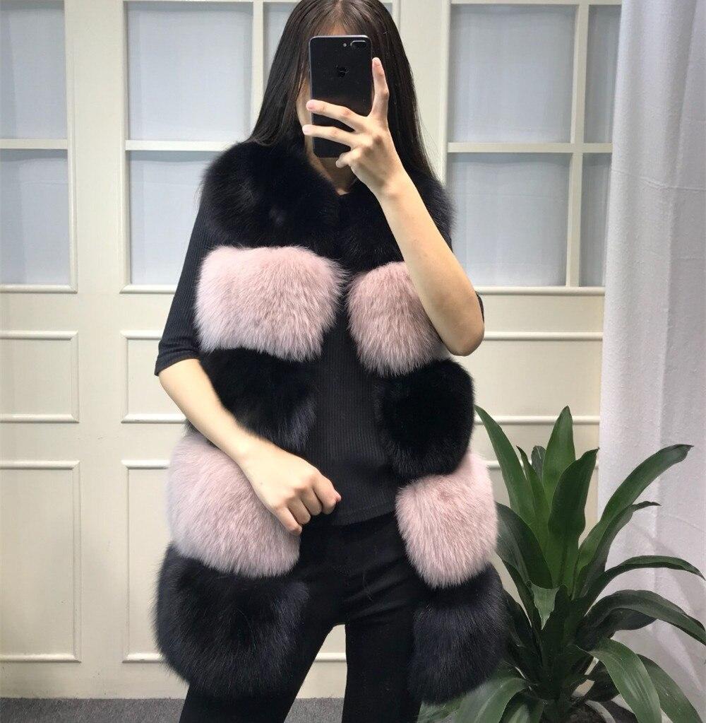 Gilet Femme 100 black Véritable Naturel Pink Pelt Hiver White Longue Gilets gray Manches Black Femmes And De Sans Renard Chaud Pleine Manteau Pink Réel Épais Fourrure xXzqB8AP