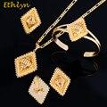 Etíope Ethlyn Top Quality Banhado A Ouro Quadrado Festa de Casamento Mulheres Conjuntos de Jóias Acessórios Corda Preta Estilo Da Eritreia S064