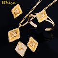 Ethlyn Top Quality Gold Plated Square Ethiopian Women Wedding Party  Black Rope Eritrean Style Jewelry Sets Accessories S064
