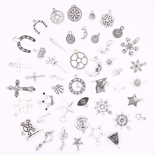 All Tibetan Silver Stars Moon Snow Crosses Charms for Jewelry Making DIY Accessories Bracelets Novelty