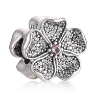 Authentic 925 Sterling Silver Bead Charm Apple Blossom Flower With Crystal Beads Fit Pandora Bracelet Bangle Diy Jewelry