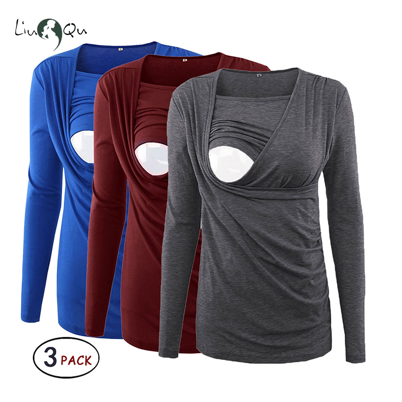 Pack of 3pcs Womens Maternity Clothes Side Ruched Long Sleeve Nursing Breastfeeding Blouses Tops Pregnancy Clothes