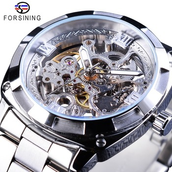 Forsining Silver Watches Folding Clasp with Safety Men's Automatic Top Brand Luxury Transparent Luminous Hands - discount item  35% OFF Men's Watches