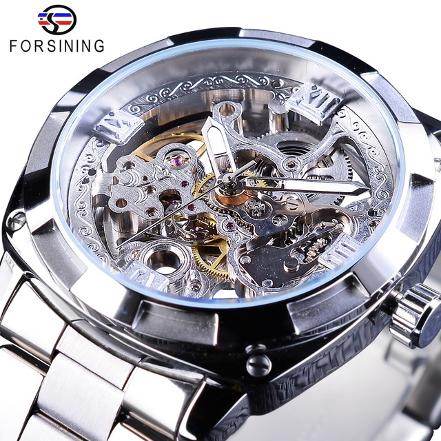 Forsining Silver Watches Folding Clasp with Safety Men's Automatic Watches Top Brand Luxury Transparent Watches Luminous Hands