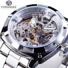 Forsining montres en argent fermoir pliant avec sécurité montres automatiques pour hommes montres transparentes de luxe de marque supérieure mains lumineuses