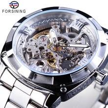 Forsining relojes de plata con cierre plegable para hombre, relojes automáticos de Seguridad, de lujo, transparentes, manecillas luminosas