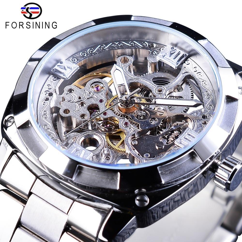 Forsining, серебряные часы, складная застежка, с безопасной застежкой, Мужские автоматические часы, Лидирующий бренд, роскошные прозрачные часы, светящиеся стрелки-in Механические часы from Ручные часы on AliExpress - 11.11_Double 11_Singles' Day