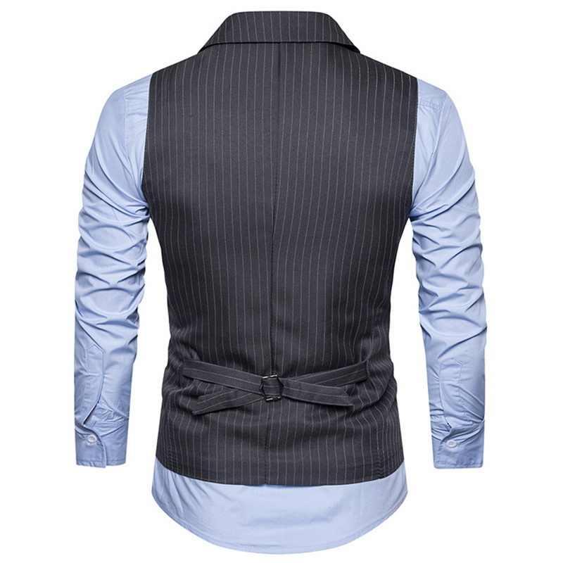Laamei 男性ベストダブルブレスト紳士メンズショールカラーストライプベストスーツ Formale ベストビジネス Chalecos Hombre