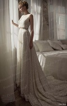 Free Shipping A Line Scoop Court Train 2 Piece Robe De Mariage 2015 Wedding Dresses Sleeveless Lace Bridal Gowns MF409