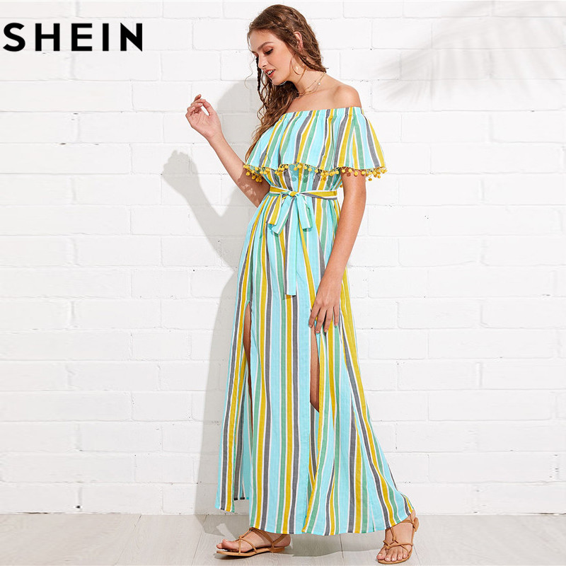 7f1a3a5299f3 SHEIN Maxi Striped Off Shoulder Long Summer Dress for Women 2018 Boho Beach  Vacation M Slit Pompom Detail Elegant Bardot Dresses-in Dresses from Women's  ...