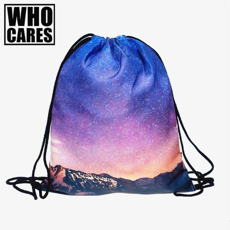 Galaxy Star 3D printing backpack Women drawstring bag 2017 fashion brand Travel bags mochila feminina Classic forever sac a dos