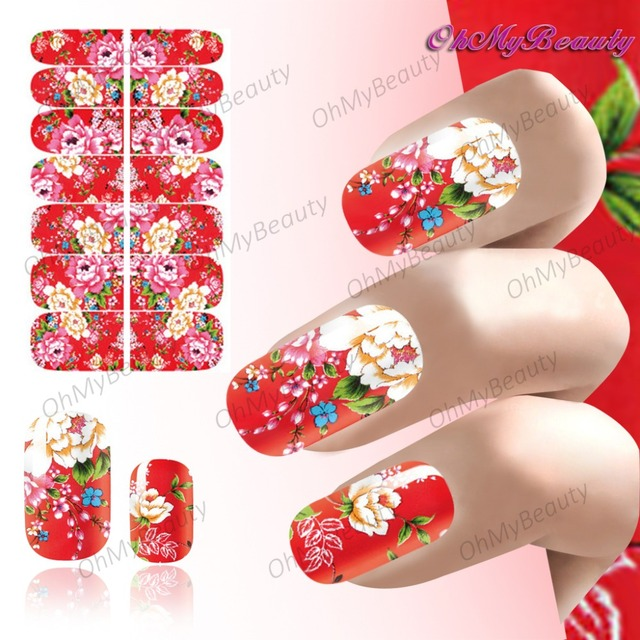 New beauty nail wrap sticker full self adhesive nail polish foil lover peach blossom pattern nails