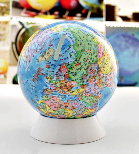 Dia 13cm High-definition Terrestrial Globe English And Chinese Children's Toys Saving Money Savings Students Present