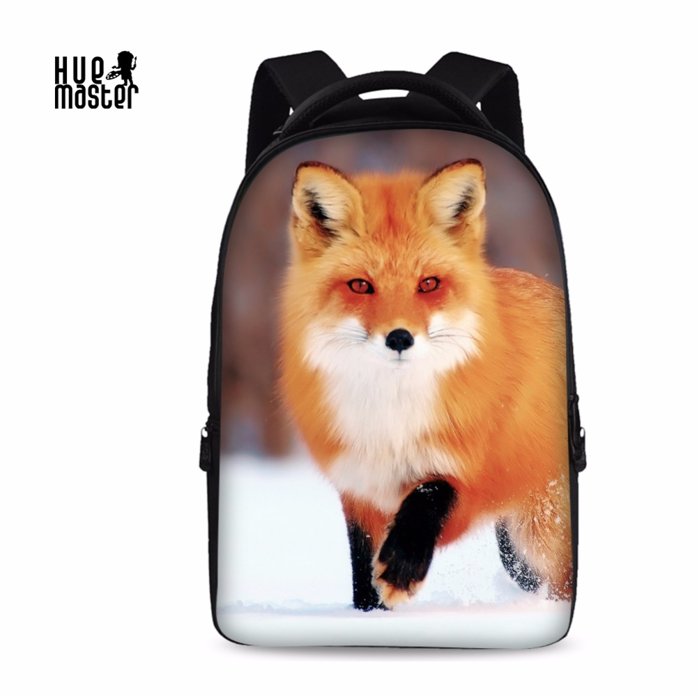 15.6 Inch Laptop Backpack Fox Printing School Bag For University Student High Capacity Oxford Rucksack Female Male Mochila 2018 augur oxford 17inch laptop men backpack large capacity student school bag for college patchwork business trip men rucksack