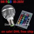 9W E27 RGB LED Bulb AC 85~265V LED Bulb Light Lamp +Romote Control DHL Free shipping