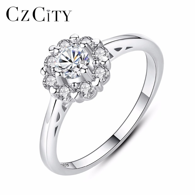 CZCITY Women Silver Ring Simple Flower 925 Sterling Silver Clear Zircon Engageme