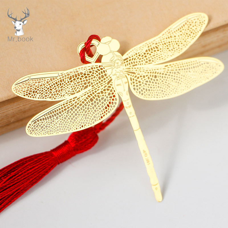 Vintage Chinese Style Golden Hollow Dragonfly Metal Bookmark Kawaii Stationery Book Clip Office Accessories School Supplies