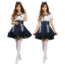 Women Sailor Maid Top + Skirt + Headwear Uniform Cosplay Party Costume Outfit