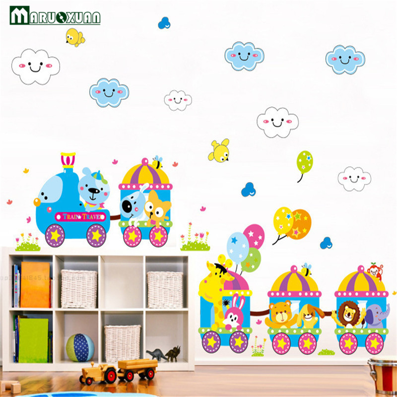 Classroom Design And Delivery ~ Yunxi cartoon animal small train stickers children s room