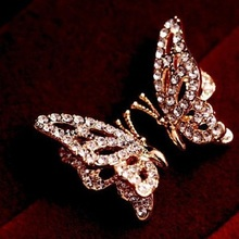 Wholesale Fashion Korean Jewelry Full Crystal Gold Plated Butterfly Earrings Of Luxury 1199
