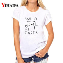 2019 Summer Women T-shirt Cat 3D Print T Shirt Short Sleeve White hip hop Tee Tops Letters Cute Animal graphic t shirts
