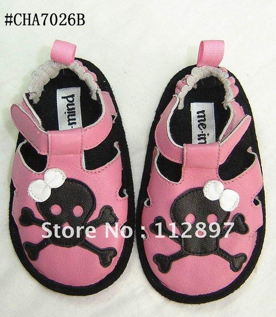 Pink sheep leather skull girl dress sandal