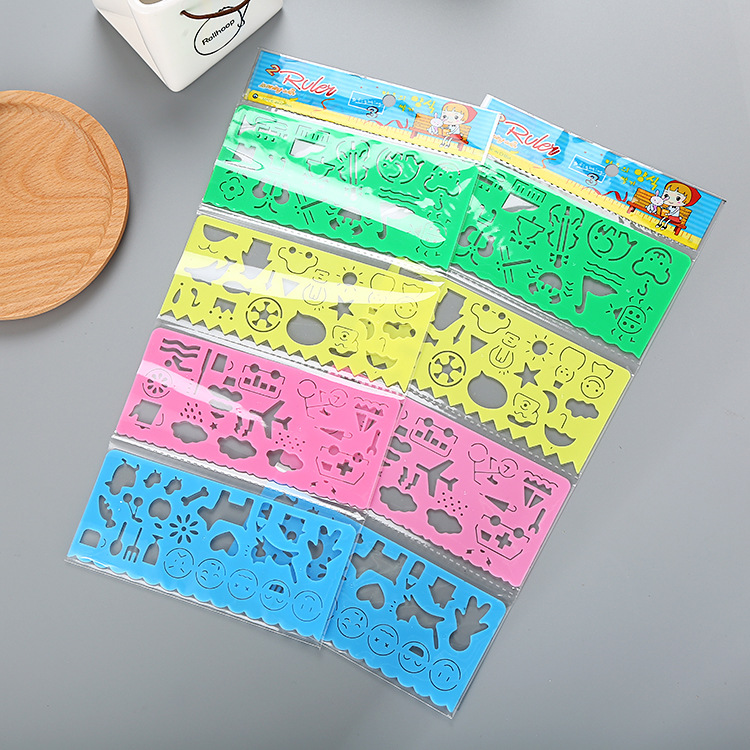 4 Pcs Creative Children's Multifunctional Wisdom And Variable Rules Cute Student Stationery Drawing Practice Painting