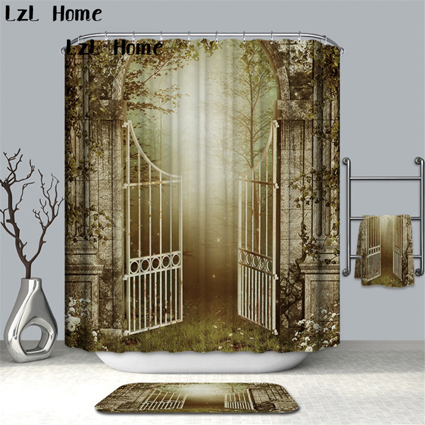LzL Home Super Fancy Nature Scenery Shower Curtain Bathroom Products Creative Romantic World Polyester Bath Curtains With Hooks zwbra shower curtain