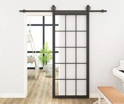DIYHD 30X86,5 Schwarz Stahl Gerahmte Glas Scheune Tür Platte Innen Klar Gehärtetem Glas Schiebe Barn Tür Panel
