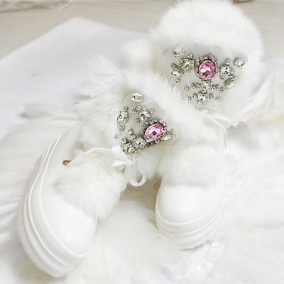 edb817634a67 2017 Real Rabbit Fur Winter Boots Rhinestones Diamond Snow Boots Thick Warm  High-Top Women Shoes Large Size 41 Winter Boots