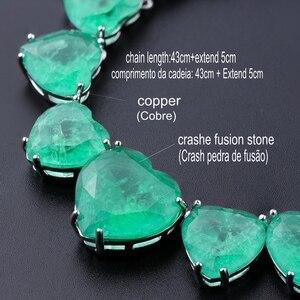 Image 3 - Newranos Hart Kristal Ketting Blauw Natuurlijke Fusion Stone Choker Ketting Voor Vrouwen Mode sieraden NFX0013124