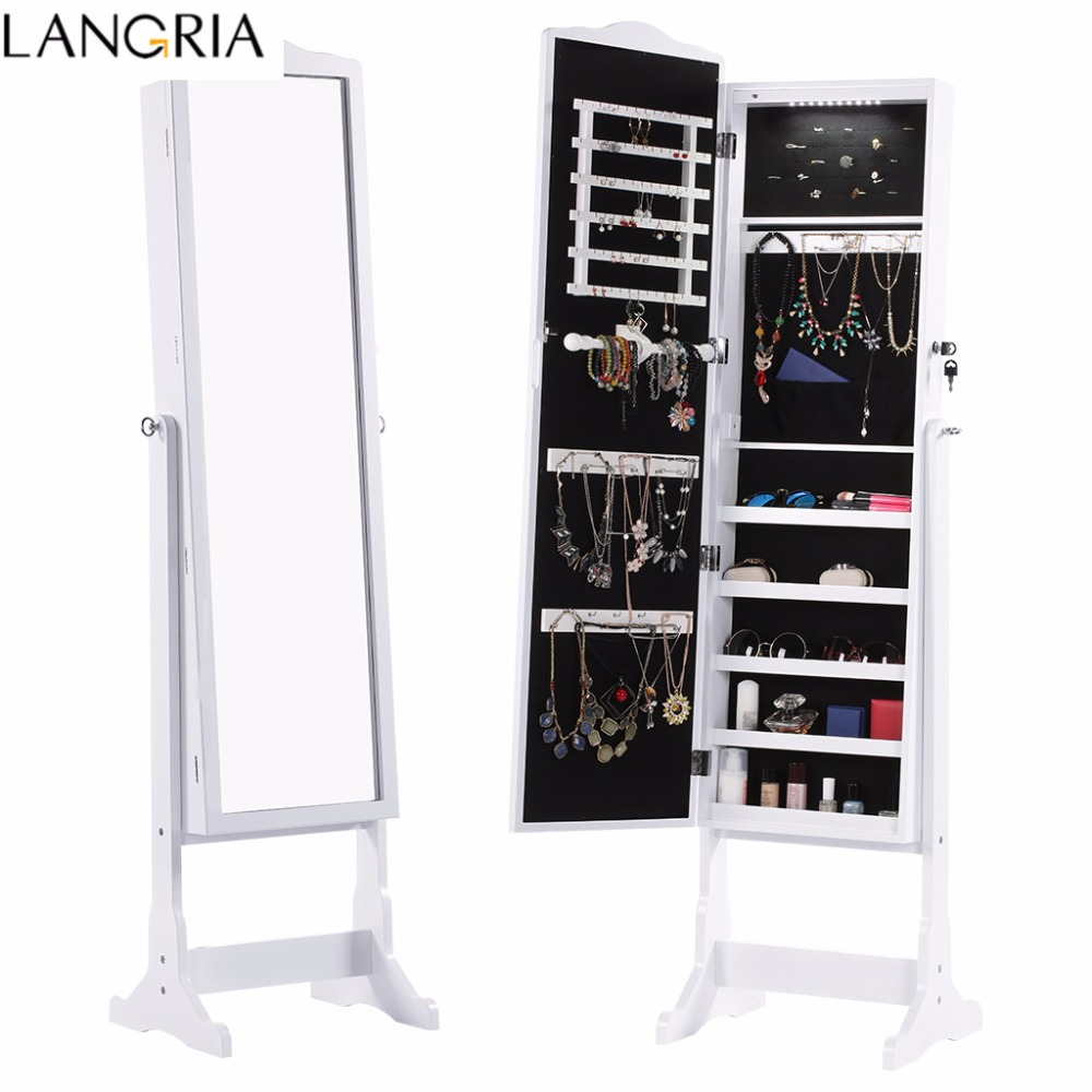 LANGRIA Free Standing Lockable Jewelry Cabinet Full-Length Mirrored Jewelry Armoire With LED Lights Angle Adjustable Organizer