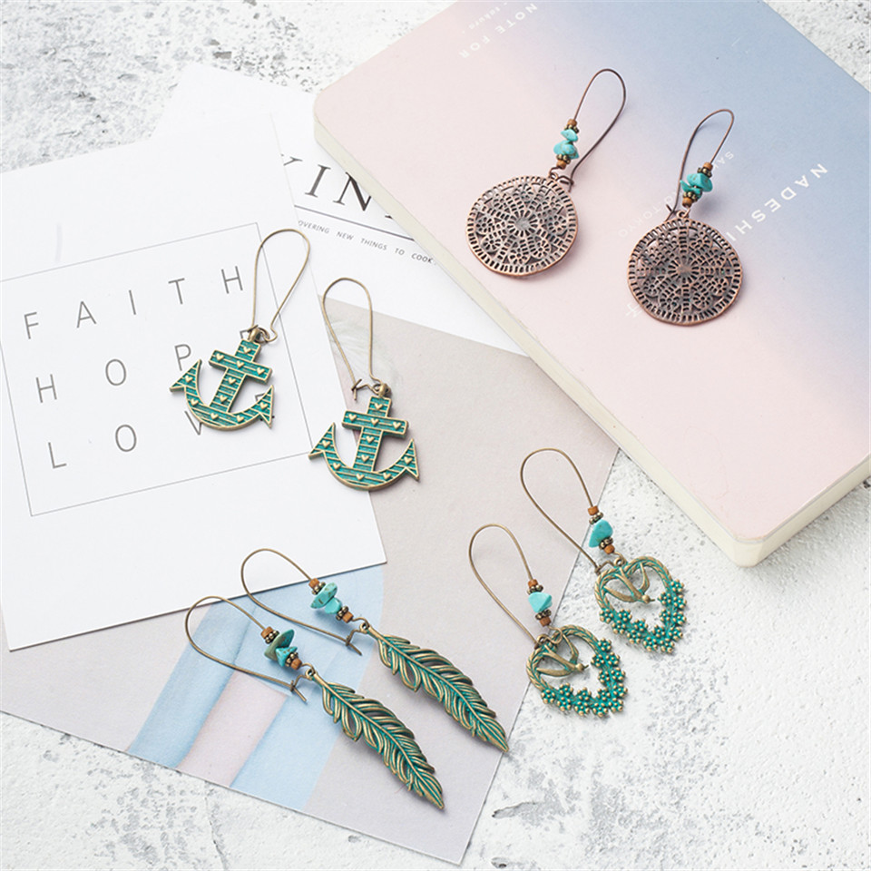 New bohemian vintage geometry round leaf leaves skull swallows flower natural stone beads drop earrings for women tassel jewelry