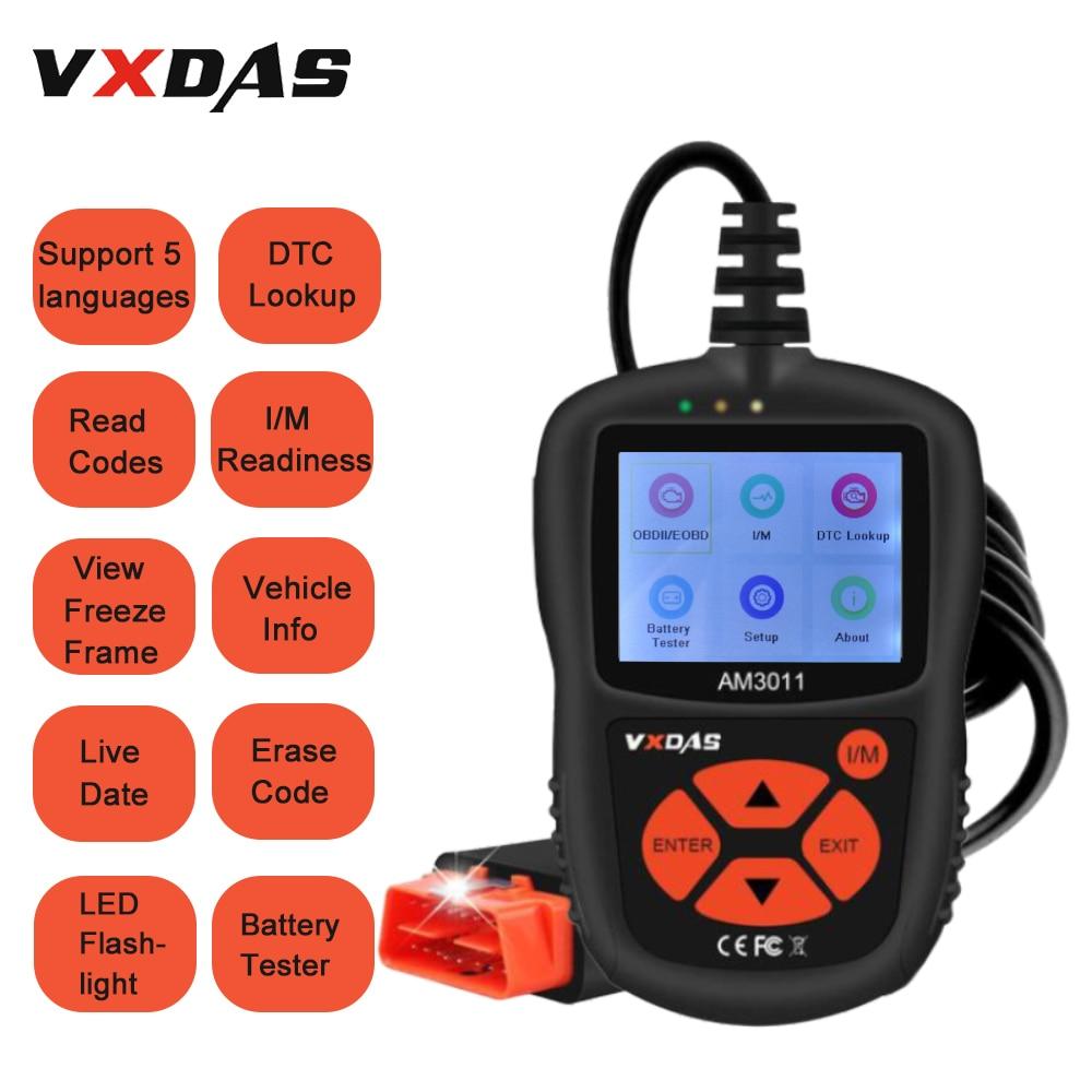 VXDAS OBD2 Scanner AM3011 Car Diagnostic Tool With CAN Flashlight Engine Fault Retrieve Code Reader ECU
