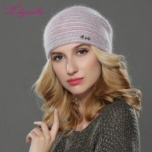 Image 4 - LILIYABAIHE חדש סגנון נשים בימס חורף כובע סרוג צמר אנגורה פסים כובעי מעודן מכתב קישוט כובע כפול כובע חם