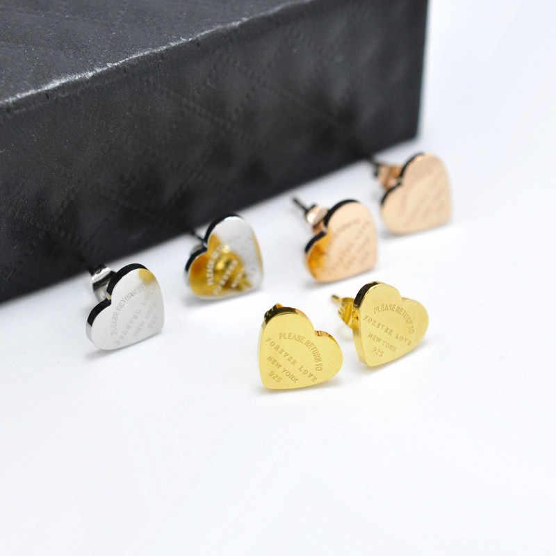 FYSARA Luxury Heart Love Earrings For Women Rose Gold-Color Heart Stud Earrings With English Letters Fine Jewelry Gift