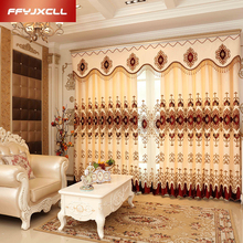 Gorgeous Europe Embroidered Tulle For living Room Bedroom Chenille Luxury Jacquard Blackout Curtain Window Treatment Drapes