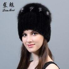 リアルミンクの毛皮の帽子ビーニー女性の冬のミンクの毛皮の帽子高級ビッグポンポンキツネの毛皮のボールキャップ女性本物のニット帽子