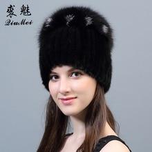 Bonnet en vrai fourrure de vison pour femmes
